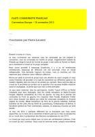 Refonder l'Europe - Conclusion de la convention nationale du 16 novembre 2013 par Pierre Laurent