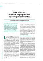 Face à la crise, le besoin de propositions systémiques cohérentes