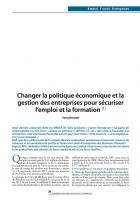 Changer la politique économique et la gestion des entreprises pour sécuriser l'emploi et la formation (1)