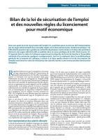 Bilan de la loi de sécurisation de l'emploi et des nouvelles règles du licenciement pour motif économique