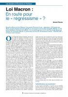 Loi Macron: En route pour le «régressisme» ?