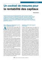 Un cocktail de mesures pour la rentabilité des capitaux