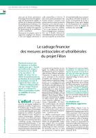 Le cadrage financier des mesures antisociales et ultralibérales du projet Fillon