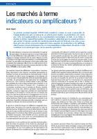 Les marchés à terme indicateurs ou amplificateurs ?
