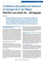 Conférence de presse sur l'essence et l'énergie de D. de Villepin Attention aux excès de…démagogie