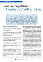 Pôles de compétitivité :  [1] A la recherche d'une Union Sacrée