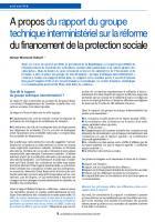 A propos du rapport du groupe technique interministériel sur la réforme du financement de laprotection sociale
