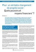 Pour un véritable changement de progrès social : Quels pouvoirs et moyens financiers(1) ?