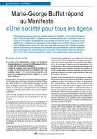 Marie-George Buffet répond au Manifeste «Une société pour tous les âges»