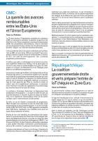 OMC : La querelle des avances remboursables entre les États-Unis et l'UE./ République Tchèque : La coalition...