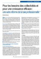Pour les besoins des collectivités et pour une croissance efficace : une autre réforme de la taxe professionnelle(1)