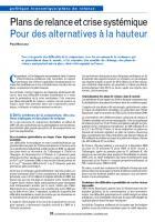 Plans de relance et crise systémique : Pour des alternatives à la hauteur