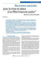 Rencontre nationale pour la mise en place d'un Pôle financier public(1)