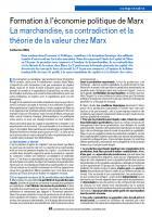 Formation à l'économie politique de Marx - La marchandise, sa contradiction et la théorie de la valeur chez Marx