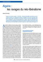 Algérie : les ravages du néo-libéralisme