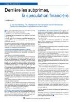 Derrière les subprimes, la spéculation financière