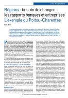 Régions : besoin de changer les rapports banques et entreprises. L'exemple du Poitou-Charentes