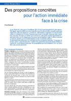 Des propositions concrètes pour l'action immédiate face à la crise