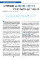 Revenu de Solidarité Active (1) : insuffisances et risques