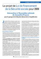 Le projet de Loi de financement de la Sécurité sociale pour 2009