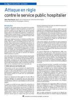 Attaque en règle contre le service public hospitalier