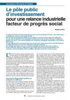 Le pôle financier public pour une relance industrielle