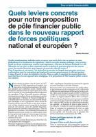 Pôle public financier : des leviers concrets