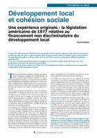 Développement local et cohésion sociale Une expérience originale : la législation américaine de 1977 relative au financement non discriminatoire du développement local