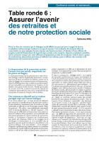 Table ronde 6 : Assurer l'avenir des retraites et de notre protection sociale