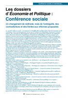 Les dossiers  d'Economie et Politique  : Conférence sociale Un changement de méthode, mais de l'ambiguïté, des contradictions et des limites aux réformes proposées