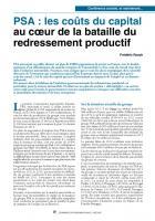 PSA : les coûts du capital  au cœur de la bataille du redressement productif