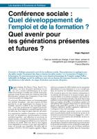 Conférence sociale : Quel développement de l'emploi et de la formation ? Quel avenir pour les générations présentes et futures ?