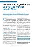 Les contrats de génération : une victoire franche pour le Medef