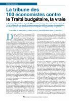 La tribune des 100 économistes contre le Traité budgétaire, la vraie