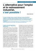 L'alternative pour l'emploi et le redressement industriel,  c'est possible !
