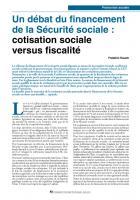 Un débat du financement de la Sécurité sociale : cotisation sociale  versus fiscalité