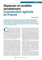 Repenser et modifier durablement  la production agricole en France