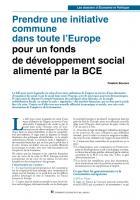 Prendre une initiative commune dans toute l'Europe pour un fonds de développement social alimenté par la BCE