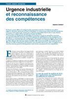 Urgence industrielle et reconnaissance  des compétences