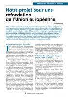 Notre projet pour une refondation de l'Union européenne