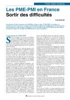 Les PME-PMI en France Sortir des difficultés