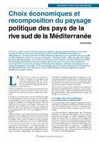 Choix économiques et recomposition du paysage politique des pays de la rive sud de la Méditerranée
