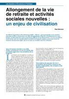 Allongement de la vie de retraite et activités sociales nouvelles : un enjeu de civilisation