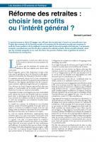 Réforme des retraites : choisir les profits ou l'intérêt général ?