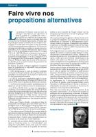 Faire vivre nos propositions alternatives (Edito)
