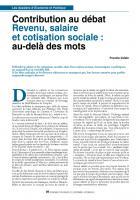 Contribution au débat : Revenu, salaire et cotisation sociale : au-delà des mots