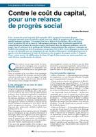 Contre le coût du capital, pour une relance de progrès social
