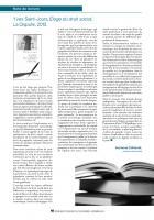 Yves Saint-Jours, Éloge du droit social,  La Dispute, 2013 (Note de lecture)