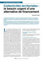 Collectivités territoriales : le besoin urgent d'une alternative de financement