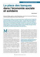 La place des banques dans l'économie sociale et solidaire